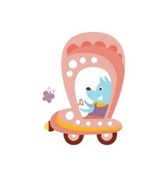 Dog driving pink car stylized fantastic vector
