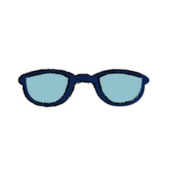 Drawing blue glasses accessory fashion object vector