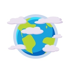 Earth planet in the clouds icon cartoon style vector image vector image