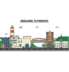 England plymouth city skyline architecture vector