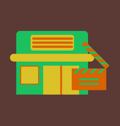 Flat icon building cinema vector