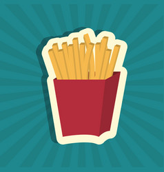 Fries french fast food design isolated vector