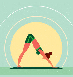 Girl in yoga downward-facing dog pose vector