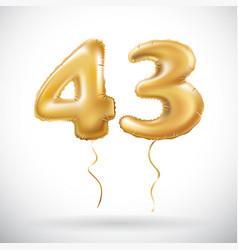 golden 43 number forty three metallic balloon vector image vector image