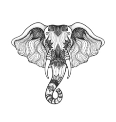 Head of a elephant line art boho design of Indian vector image vector image