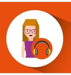 Headphones music character girl glasses vector