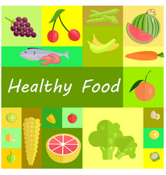 healthy organic food cartoon set vector image vector image