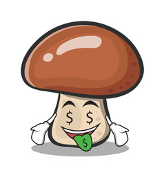 Money mouth mushroom character cartoon vector