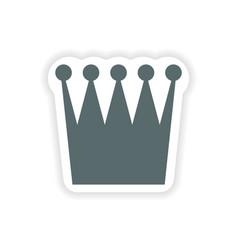 Paper sticker british crown on white background vector
