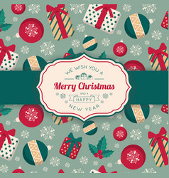 present boxes and toys pattern and greeting text vector image vector image
