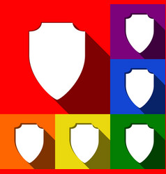 Shield sign set of icons vector