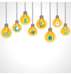 Yellow bulb with business icons vector image vector image