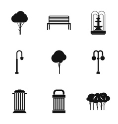 Park equipment icons set simple style vector