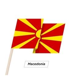 Macedonia ribbon waving flag isolated on white vector