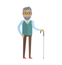 Old bearded man with walking stick vector
