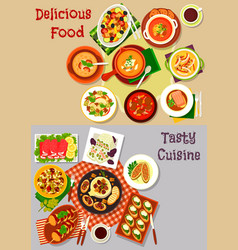 Salad snack and soup dishes icon for food design vector