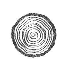 Black scribble tree ring vector