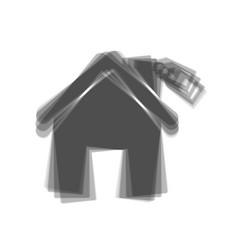 Home silhouette with tag  gray icon shaked vector