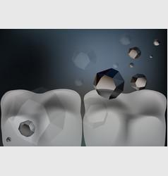 Sugar crystals attack teeth vector