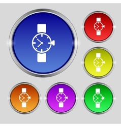 Wrist watch sign icon mechanical clock symbol set vector
