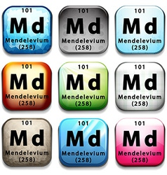 An icon with the chemical element mendelevium vector