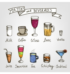 Set of hand drawn drinks vector
