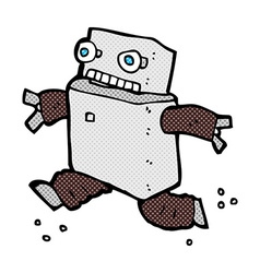 comic cartoon running robot vector image