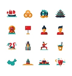 Flat design china travel icons infographics vector