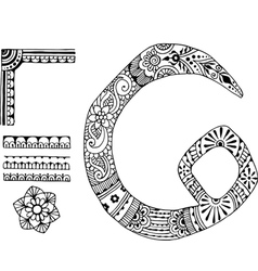 Letter c decorated in the style of mehndi vector