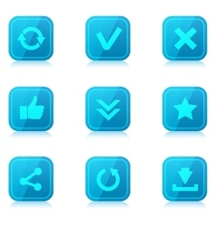 Set of blue internet icons with reflection vector
