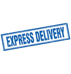 Express delivery blue square grunge stamp on white vector