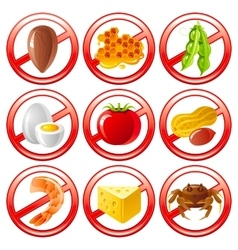 Allergen food icon set shows allergy to products vector