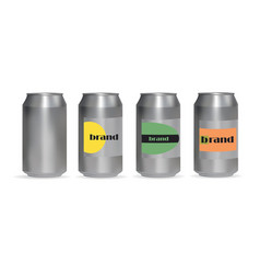 A set of aluminum cans for drinks vector