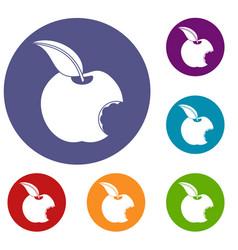 Bitten apple icons set vector