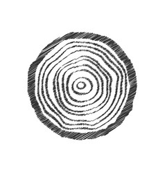 black scribble tree ring vector image