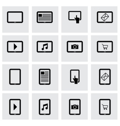 black tablet icon set vector image