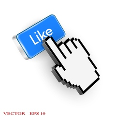 Blue button with Like text and hand cursor vector image vector image