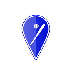 blue map pointer with baseball ball vector image vector image