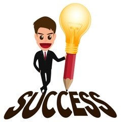 Businessman successful concept and lightbulb penci vector