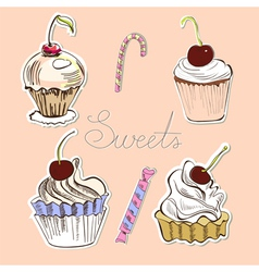 card with sweets vector image vector image