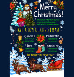 christmas holidays new year greeting sketch vector image