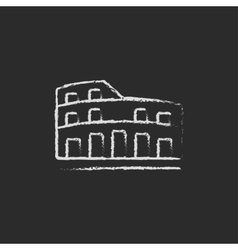 Coliseum icon drawn in chalk vector