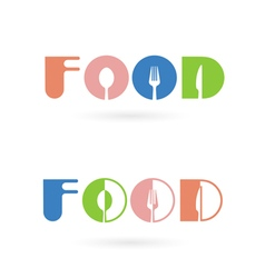 Creative food word logo elements design vector image