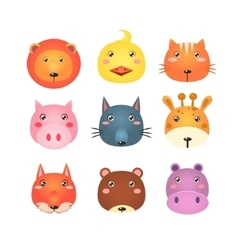 Cute Set of Cartoon Animal Heads vector image