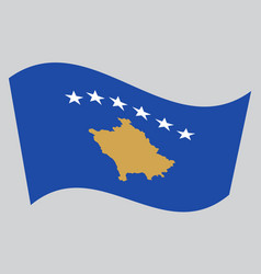 flag of kosovo waving on gray background vector image