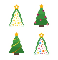 Flat christmas tree with star and garland set vector