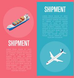 Freight shipment isometric banner set vector