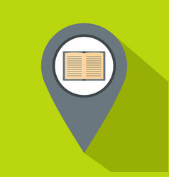gray map pointer with book icon flat style vector image
