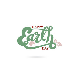 Green happy earth day typographical design vector