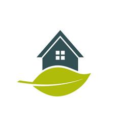Green house leaf logo vector